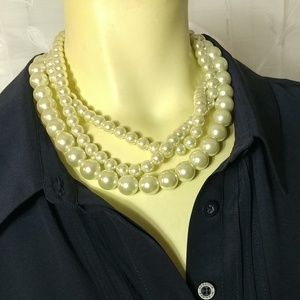 LULU FROST Faux Pearls Multiple Strand Necklace